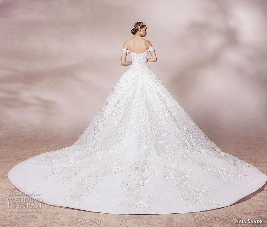 naja saade 2018 bridal off the shoulder sweetheart neckline full embellishment romantic princess ball gown a  line wedding dress mid back royal train (6) bv