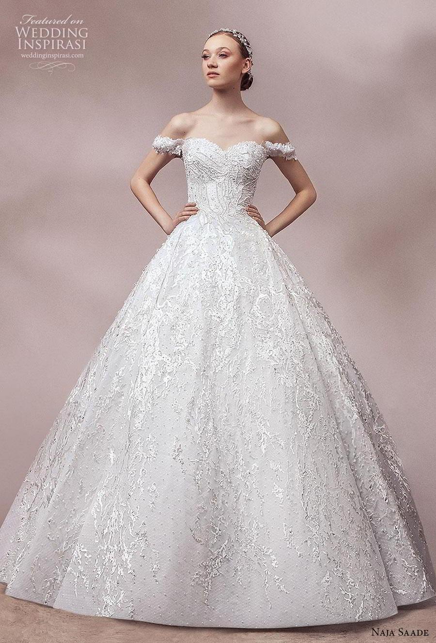 naja saade 2018 bridal off the shoulder sweetheart neckline full embellishment romantic princess ball gown a  line wedding dress mid back royal train (6) mv