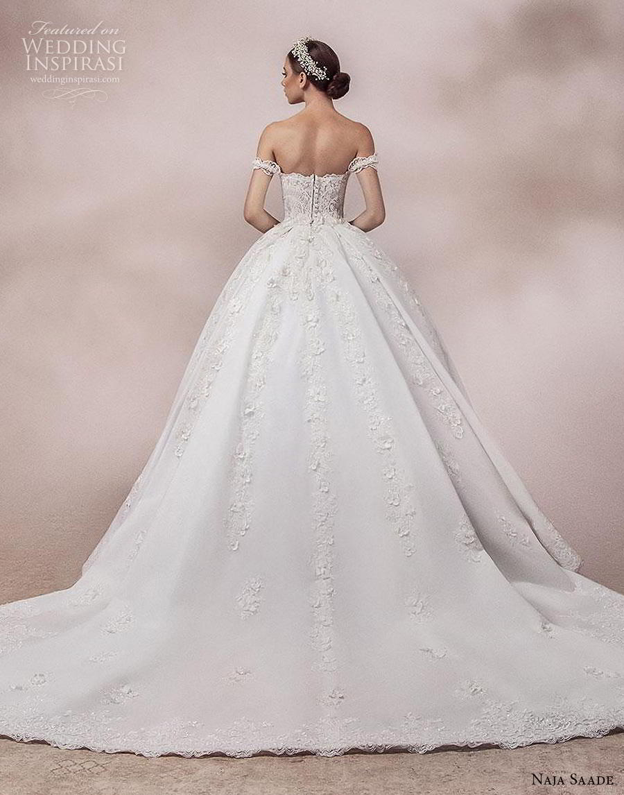 naja saade 2018 bridal off the shoulder sweetheart neckline heavily embellished bodice princess romantic ball gown a  line wedding dress mid back chapel train (12) bv