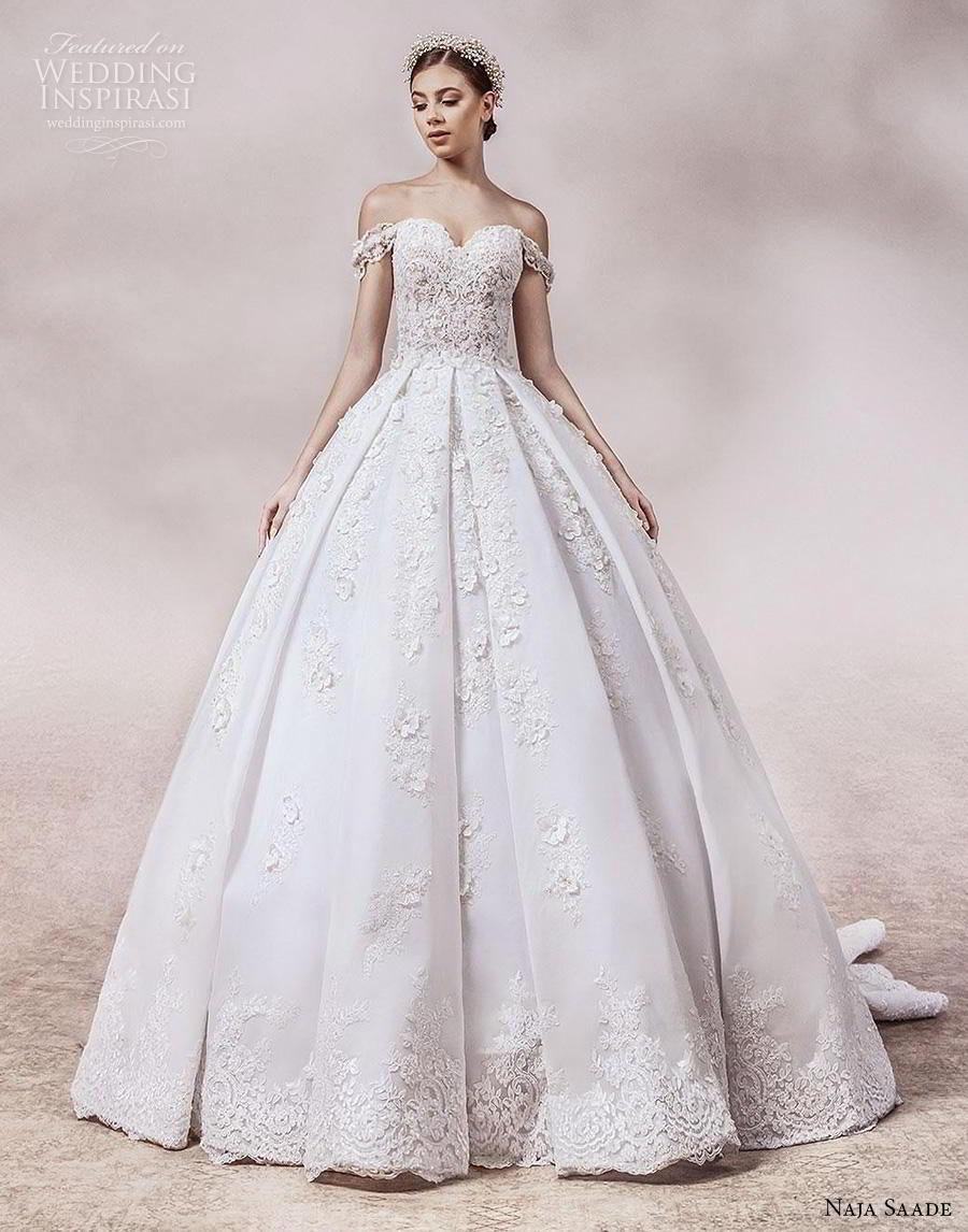naja saade 2018 bridal off the shoulder sweetheart neckline heavily embellished bodice princess romantic ball gown a  line wedding dress mid back chapel train (12) mv
