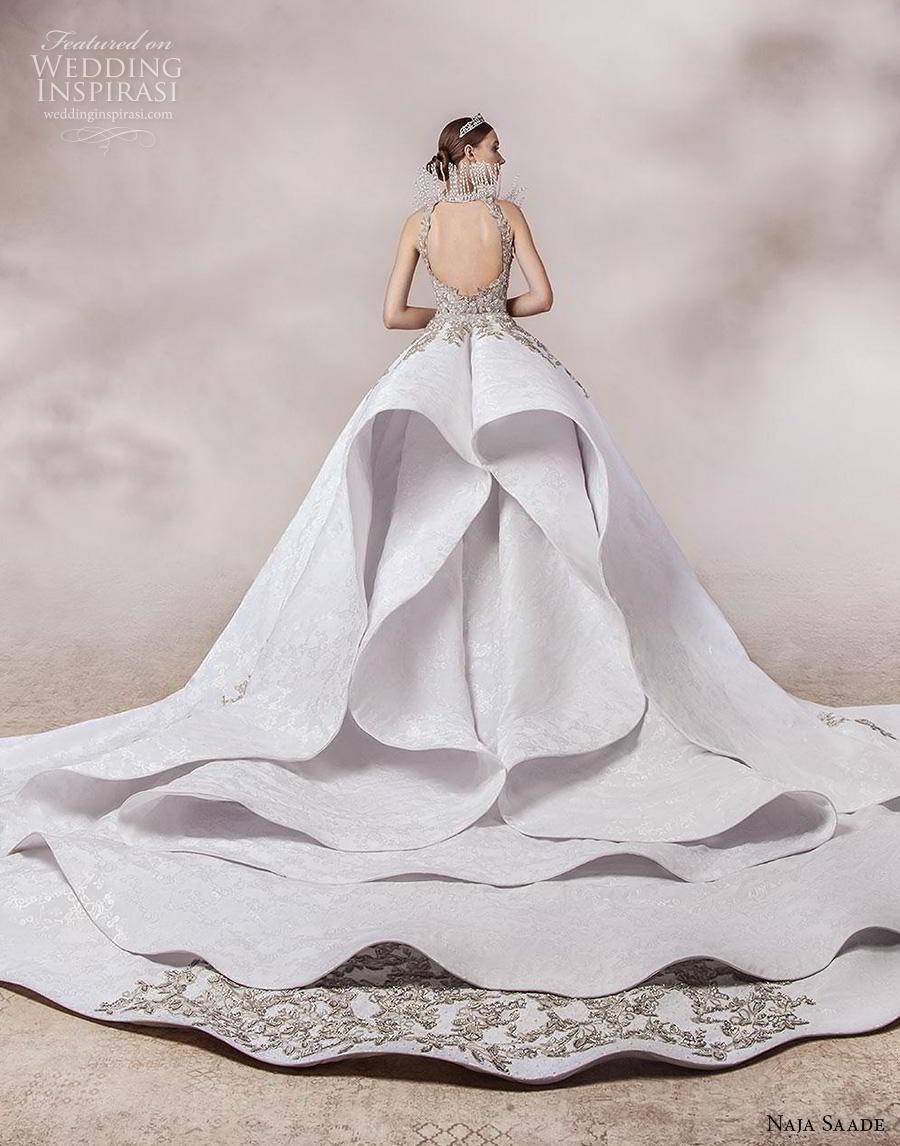 naja saade 2018 bridal sleeveless embellished strap sweetheart neckline heavily embellished bodice glamorous princess ball gown a  line wedding dress backless scoop back royal train (15) bv