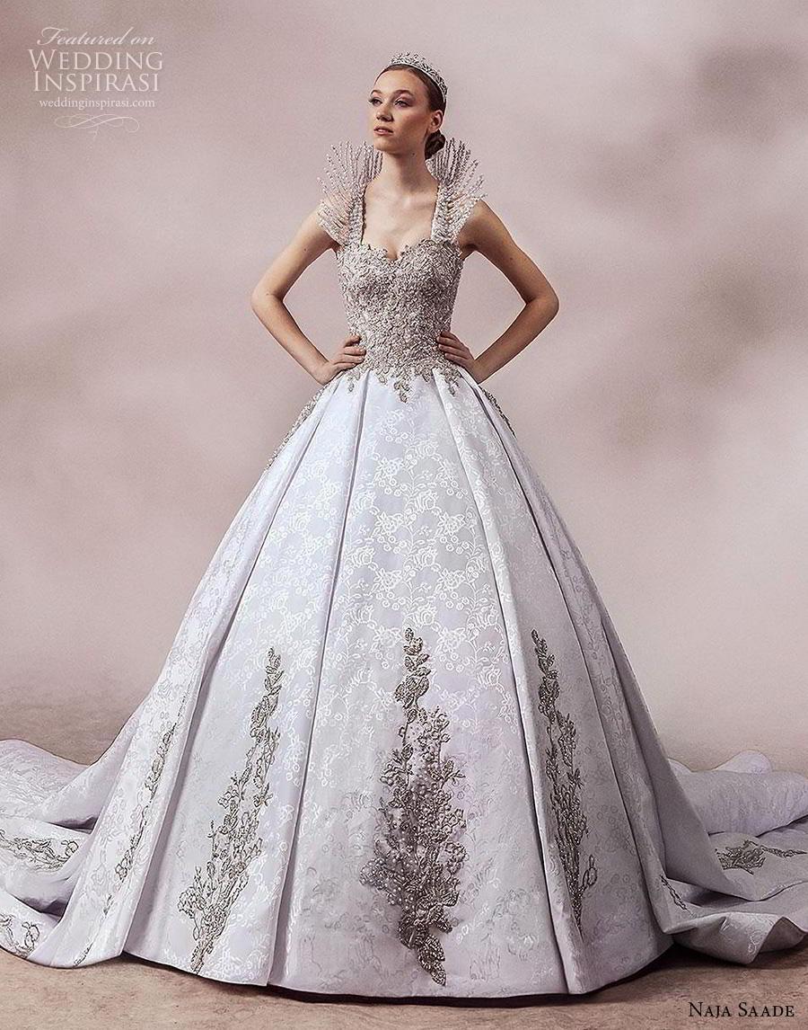 naja saade 2018 bridal sleeveless embellished strap sweetheart neckline heavily embellished bodice glamorous princess ball gown a  line wedding dress backless scoop back royal train (15) mv