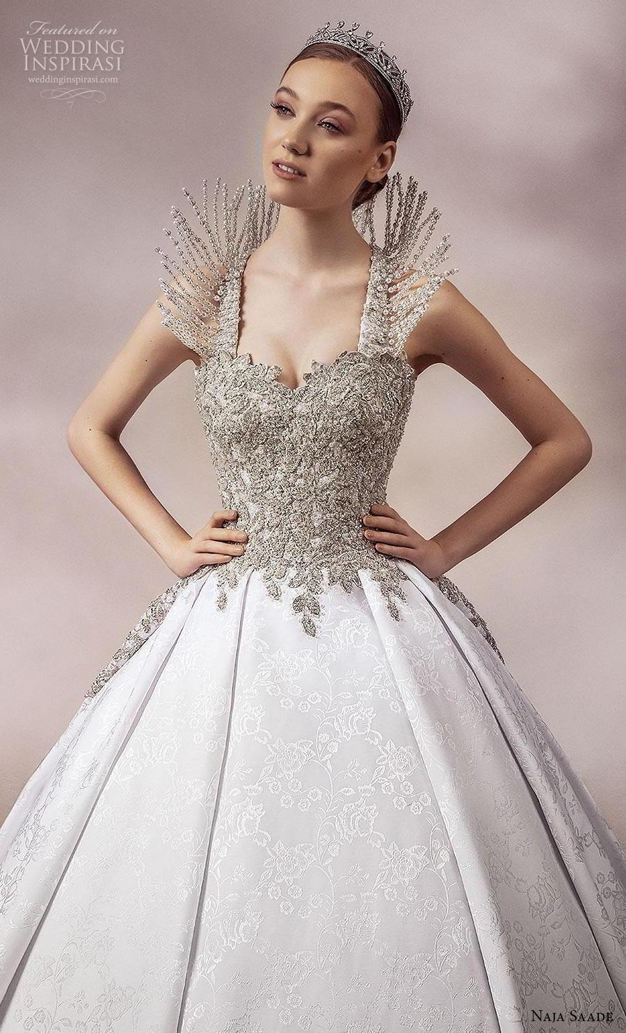 naja saade 2018 bridal sleeveless embellished strap sweetheart neckline heavily embellished bodice glamorous princess ball gown a  line wedding dress backless scoop back royal train (15) zv