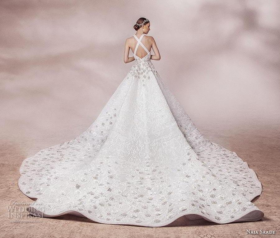 naja saade 2018 bridal sleeveless halter neckline full embellishment romantic a  line wedding dress cross strap back royal train (5) bv
