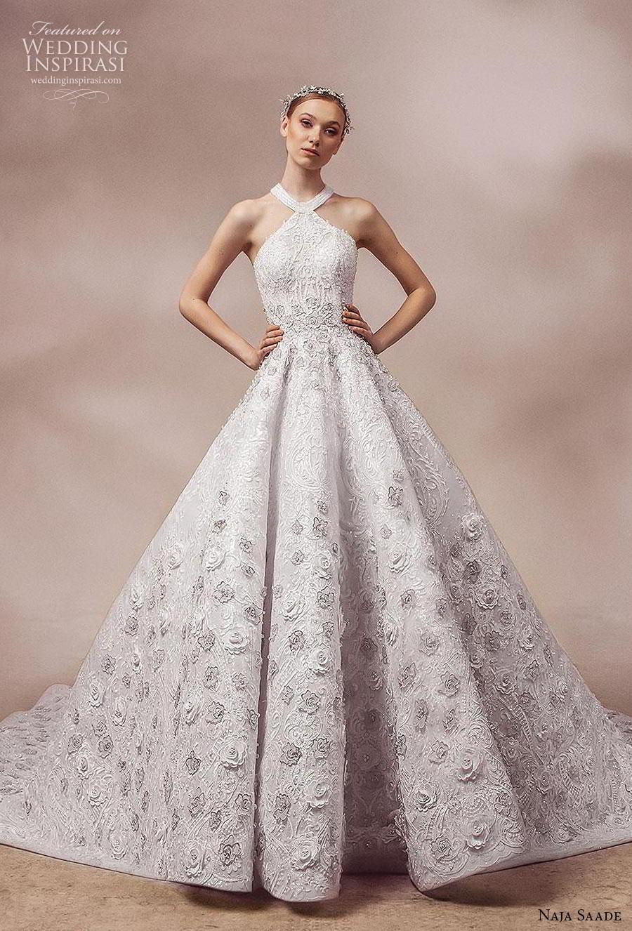 naja saade 2018 bridal sleeveless halter neckline full embellishment romantic a  line wedding dress cross strap back royal train (5) mv