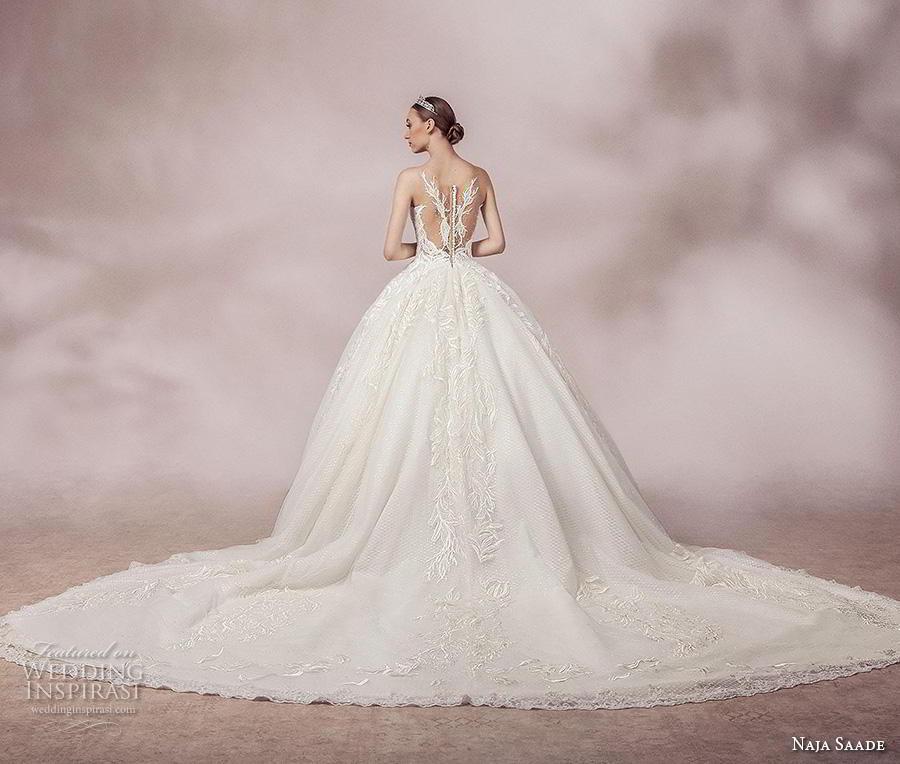 naja saade 2018 bridal sleeveless sheer strap v neck full embellishment romantic princess ball gown a  line wedding dress sheer lace back royal train (8) bv