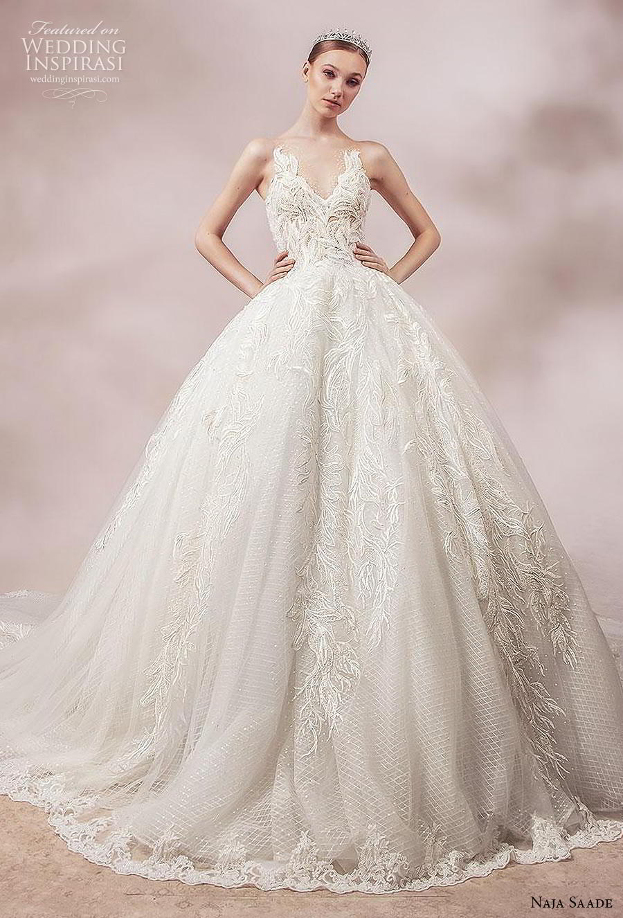 naja saade 2018 bridal sleeveless sheer strap v neck full embellishment romantic princess ball gown a  line wedding dress sheer lace back royal train (8) mv