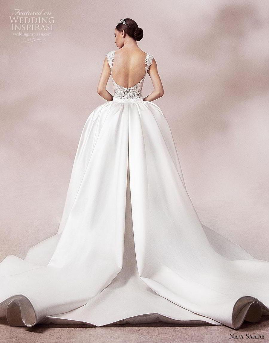 naja saade 2018 bridal sleeveless thick strap deep v neck full embellishment glamorous princess sheath wedding dress a  line overskirt backless scoop back royal train (14) bv