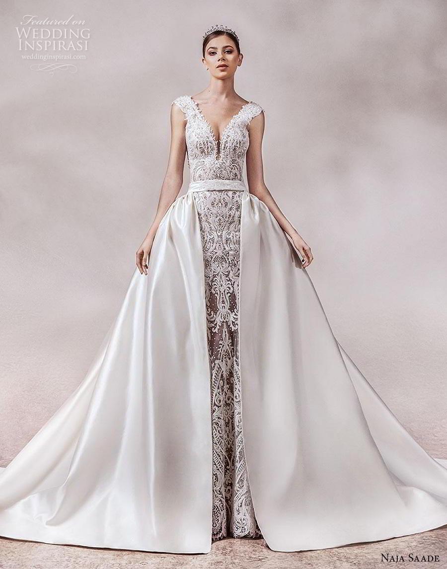 naja saade 2018 bridal sleeveless thick strap deep v neck full embellishment glamorous princess sheath wedding dress a  line overskirt backless scoop back royal train (14) mv