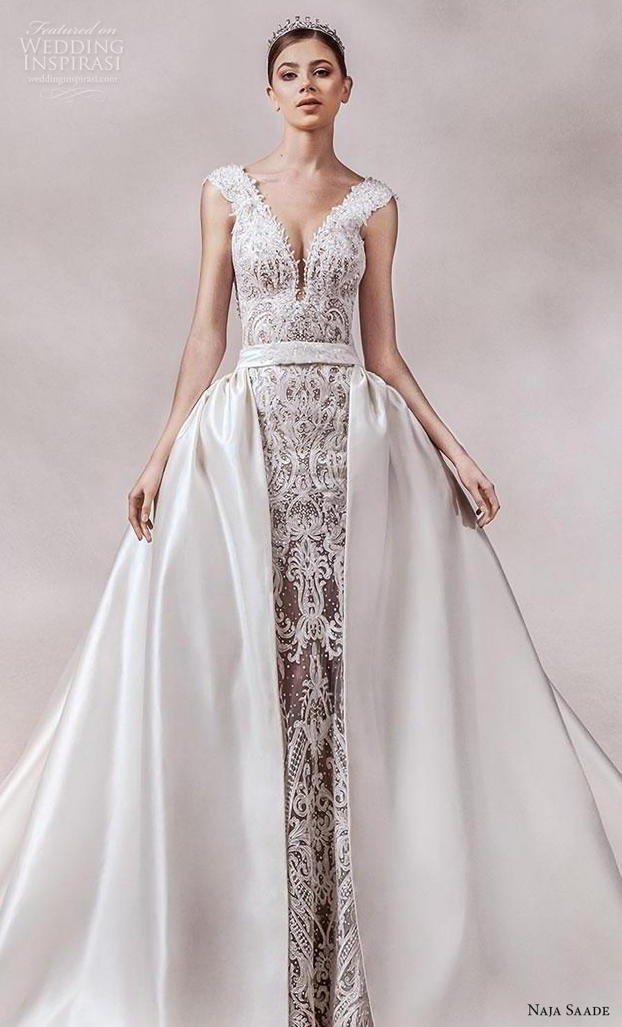 naja saade 2018 bridal sleeveless thick strap deep v neck full embellishment glamorous princess sheath wedding dress a  line overskirt backless scoop back royal train (14) zv