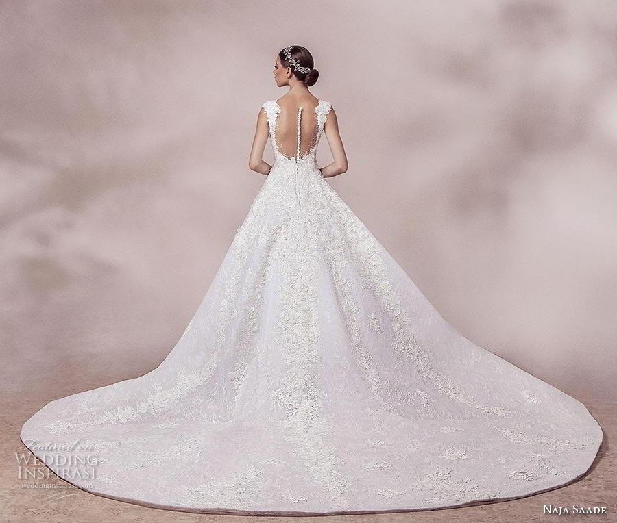 naja saade 2018 bridal sleeveless thick strap sweetheart neckline heavily embellished bodice romantic a  line weddomg dress sheer button back chapel train (9) bv