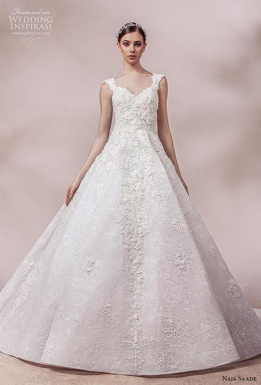 naja saade 2018 bridal sleeveless thick strap sweetheart neckline heavily embellished bodice romantic a  line weddomg dress sheer button back chapel train (9) mv