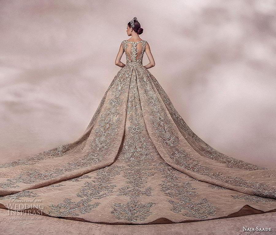 naja saade 2018 bridal sleeveless thick strap v neck full embellishment glamorous princess gold ball gown a  line wedding dress lace button back royal train (10) bv