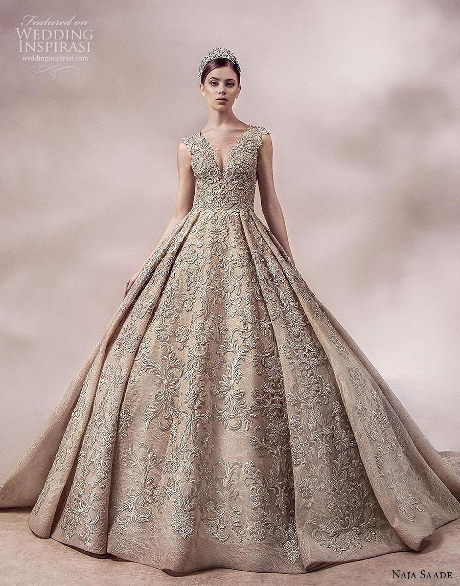 naja saade 2018 bridal sleeveless thick strap v neck full embellishment glamorous princess gold ball gown a  line wedding dress lace button back royal train (10) mv