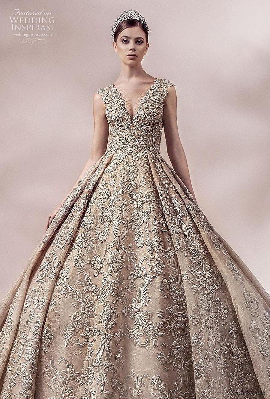 naja saade 2018 bridal sleeveless thick strap v neck full embellishment glamorous princess gold ball gown a  line wedding dress lace button back royal train (10) zv