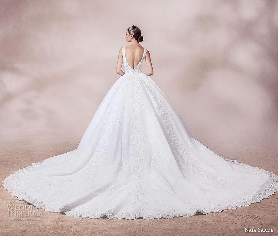 naja saade 2018 bridal sleeveless thick strap v neck full embellishment princess romantic ball gown a  line wedding dress v back royal train (7) bv