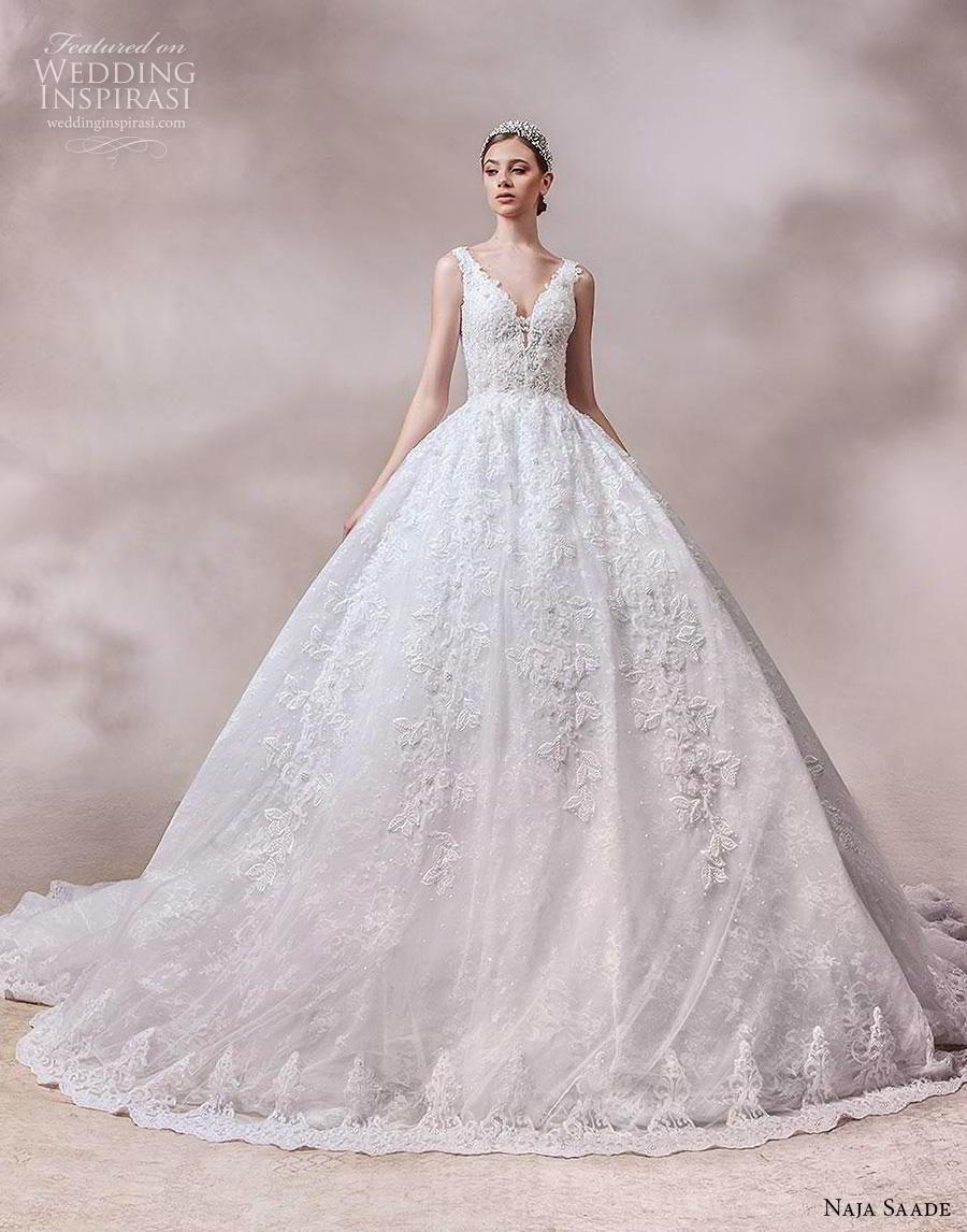 naja saade 2018 bridal sleeveless thick strap v neck full embellishment princess romantic ball gown a  line wedding dress v back royal train (7) mv