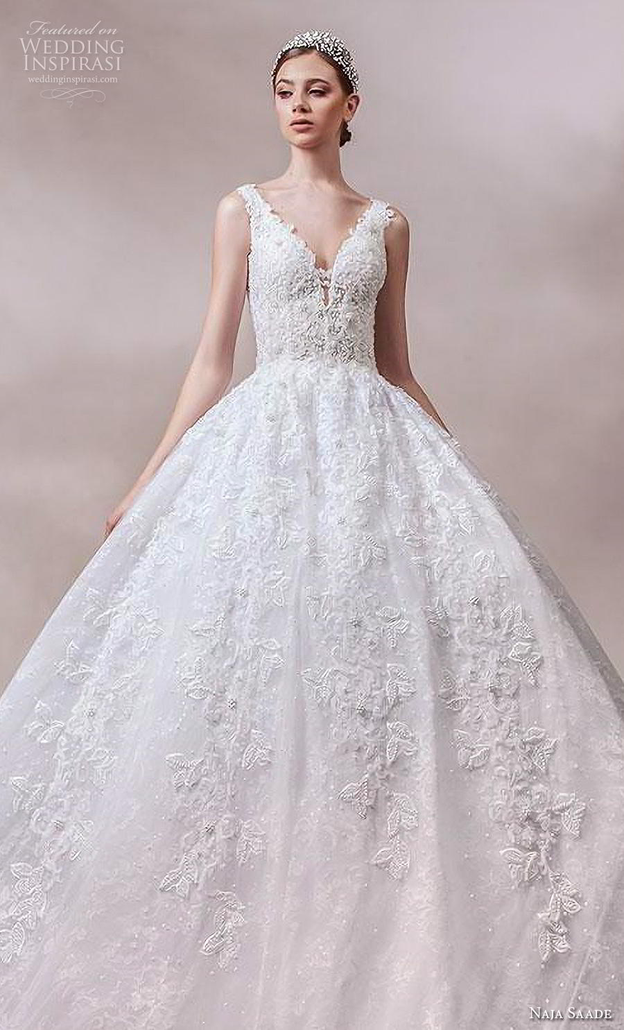 naja saade 2018 bridal sleeveless thick strap v neck full embellishment princess romantic ball gown a  line wedding dress v back royal train (7) zv