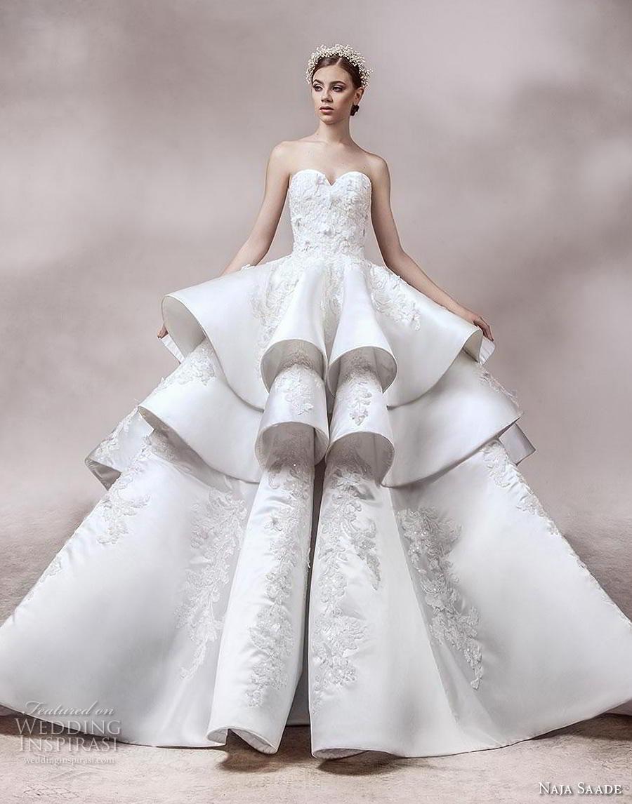 naja saade 2018 bridal strapless sweetheart neckline heavily embellished bodice layered skirt princess ball gown a  line wedding dress mid back royal train (4) mv