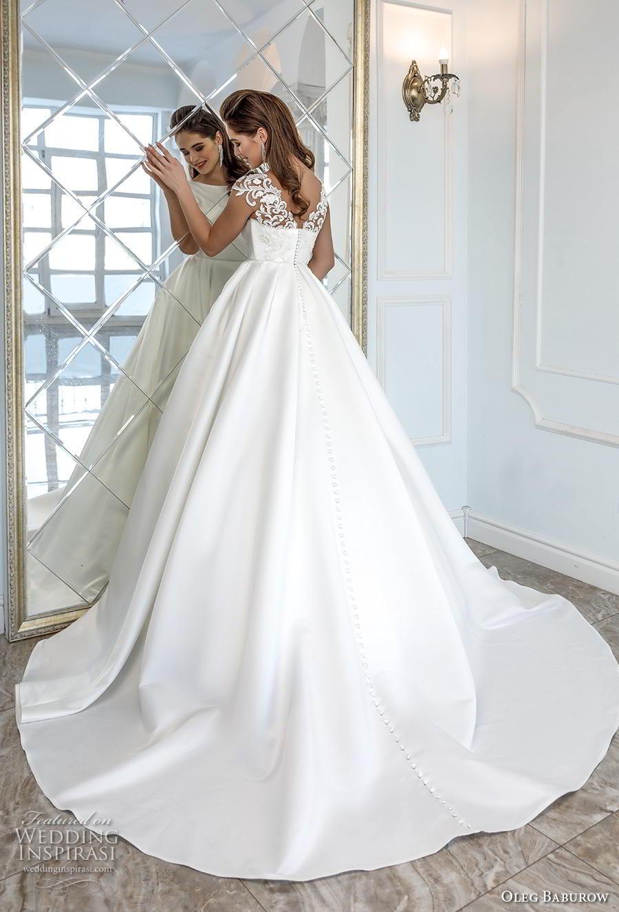 oleg baburow 2019 bridal cap sleeves bateau neckline simple minimalist elegant a  line wedding dress pockets mid back chapel train (4) bv