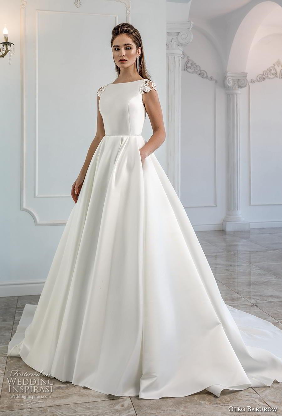 oleg baburow 2019 bridal cap sleeves bateau neckline simple minimalist elegant a  line wedding dress pockets mid back chapel train (4) mv