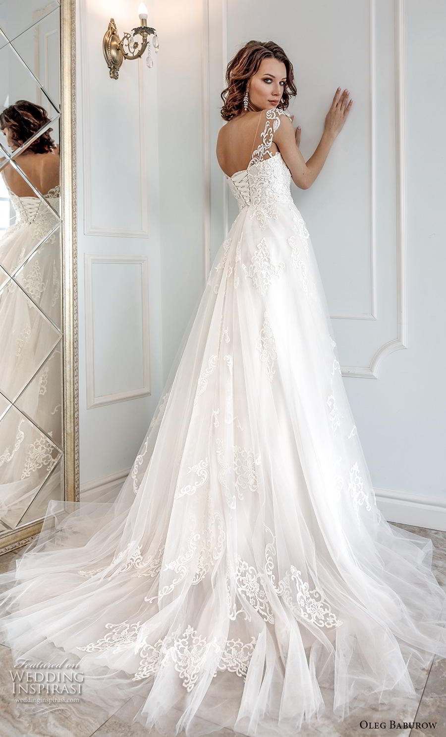 oleg baburow 2019 bridal cap sleeves thick strap sweetheart neckline heavily embellished bodice princess a  line wedding dress mid back chapel train (12) bv