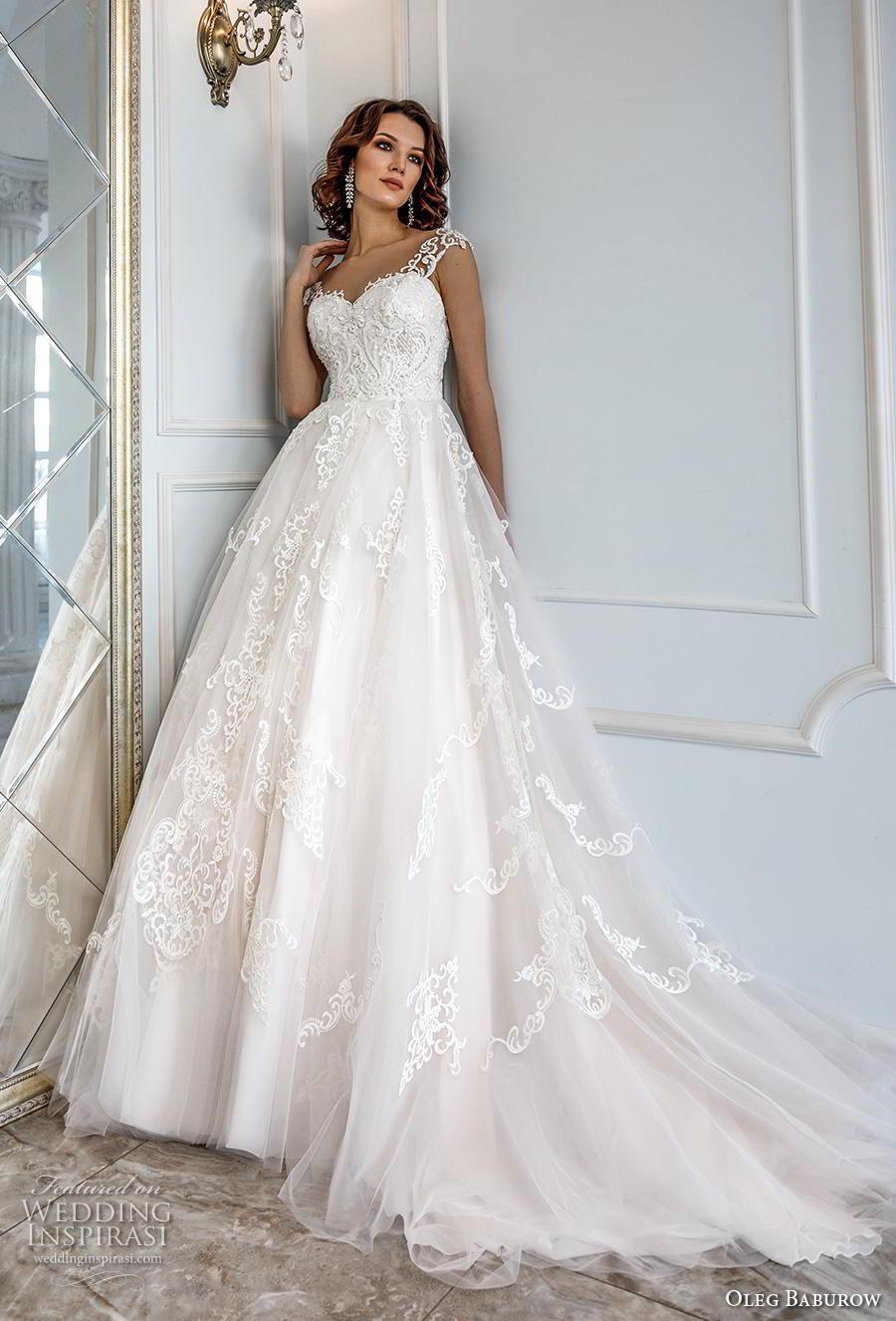 oleg baburow 2019 bridal cap sleeves thick strap sweetheart neckline heavily embellished bodice princess a  line wedding dress mid back chapel train (12) mv