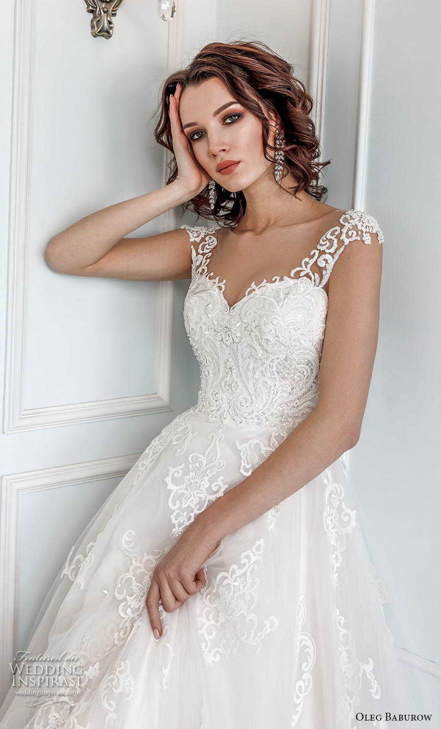 oleg baburow 2019 bridal cap sleeves thick strap sweetheart neckline heavily embellished bodice princess a  line wedding dress mid back chapel train (12) zv