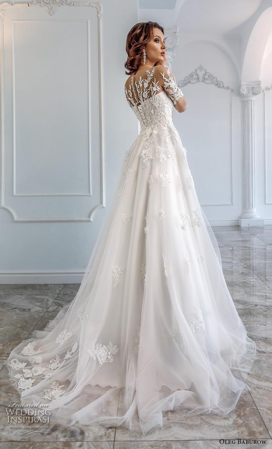 oleg baburow 2019 bridal half sleeves sweetheart neckline heavily embellished bodice romantic soft a  line wedding dress sheer lace back chapel train (10) bv