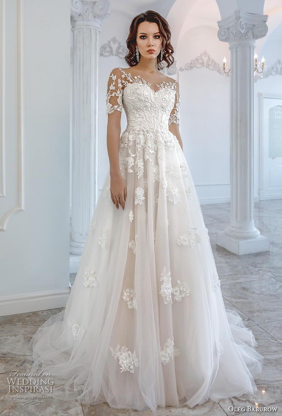 oleg baburow 2019 bridal half sleeves sweetheart neckline heavily embellished bodice romantic soft a  line wedding dress sheer lace back chapel train (10) mv