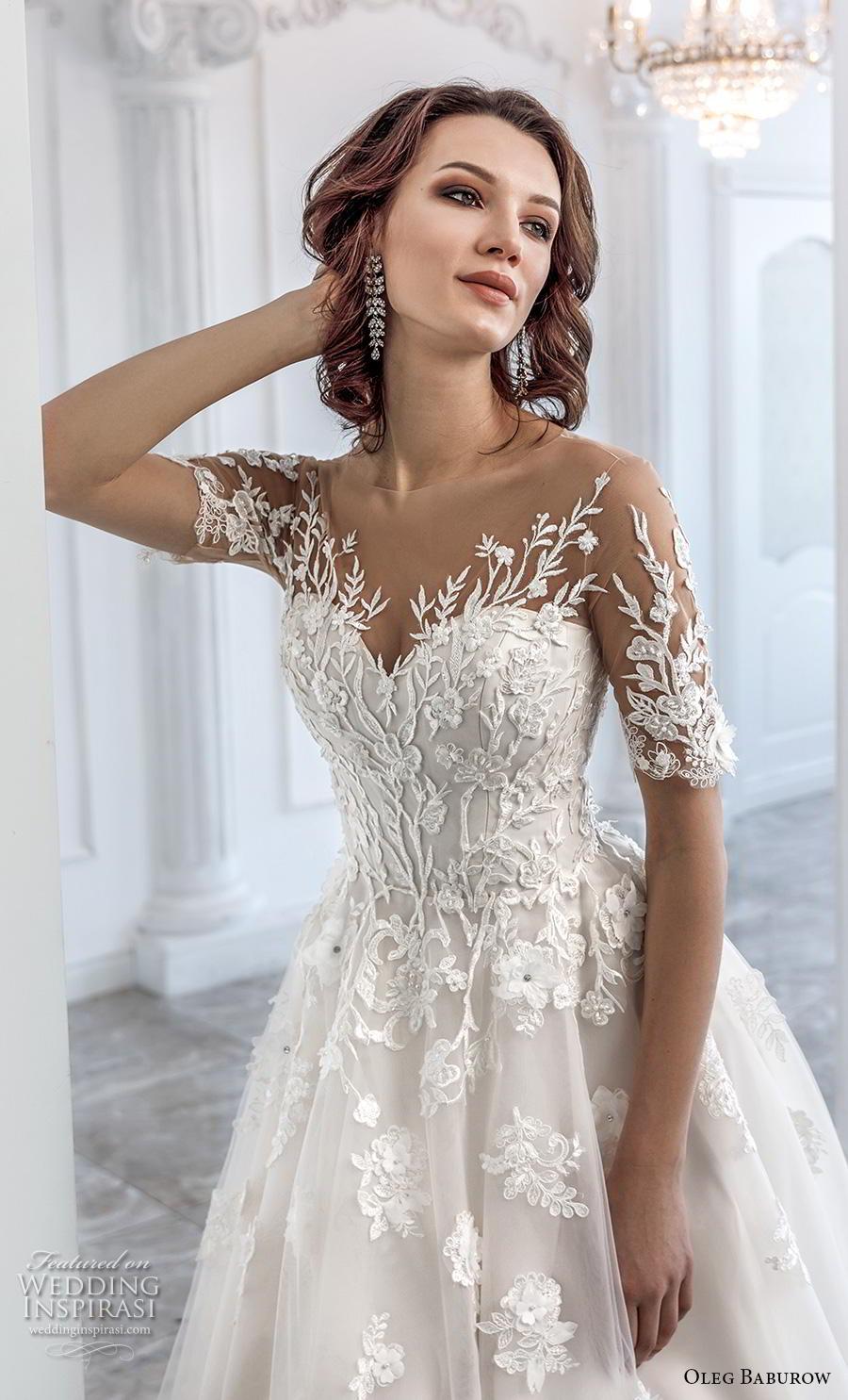oleg baburow 2019 bridal half sleeves sweetheart neckline heavily embellished bodice romantic soft a  line wedding dress sheer lace back chapel train (10) zv