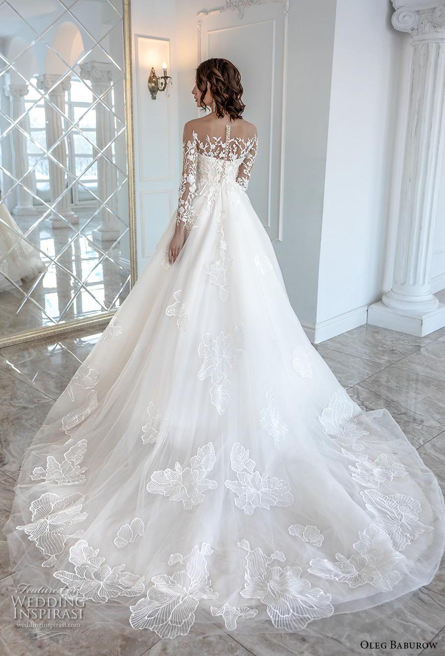 oleg baburow 2019 bridal long sleeves illusion bateau sweetheart neckline heavily embellished bodice princess a  line wedding dress chapel train (1) bv