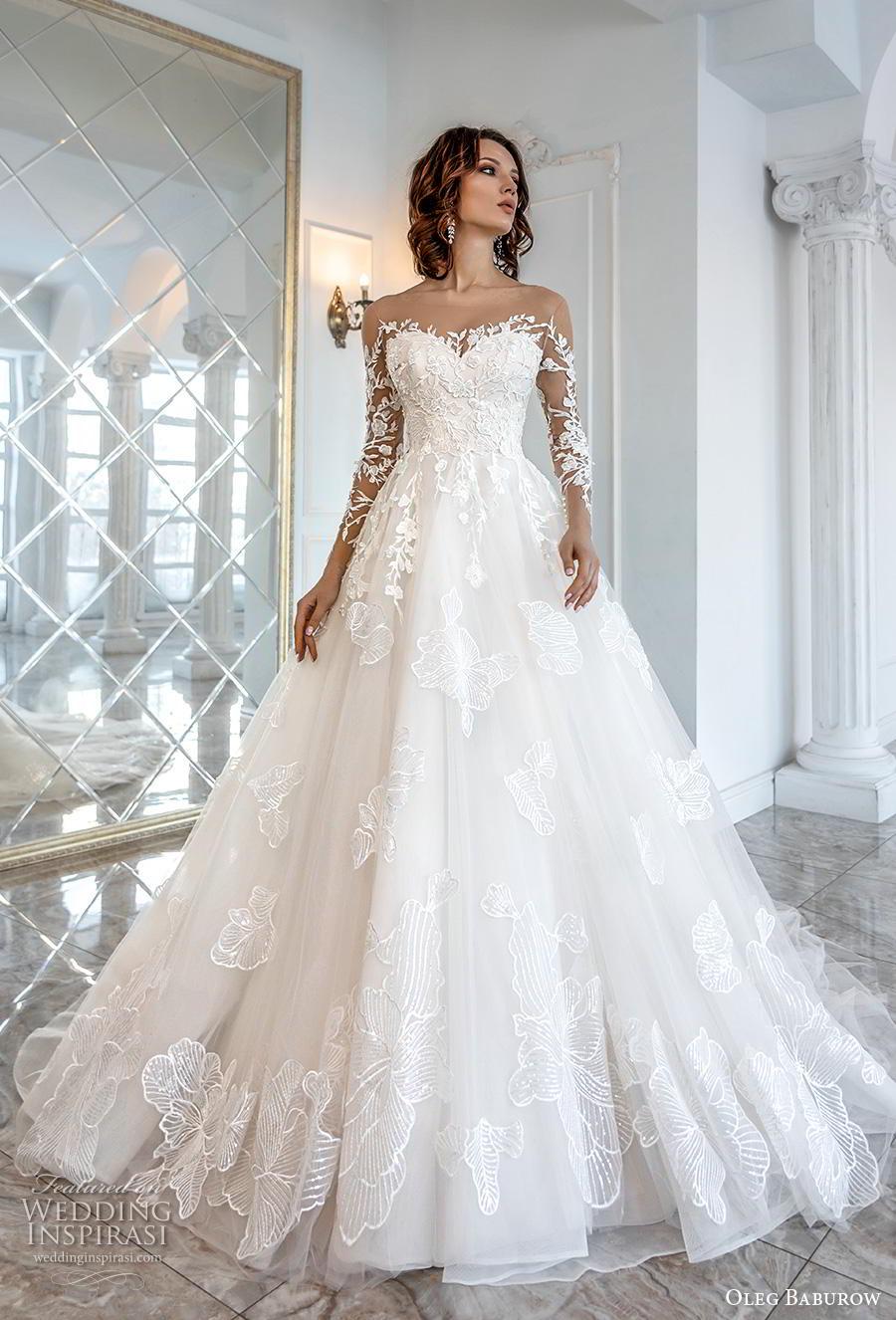 oleg baburow 2019 bridal long sleeves illusion bateau sweetheart neckline heavily embellished bodice princess a  line wedding dress chapel train (1) mv