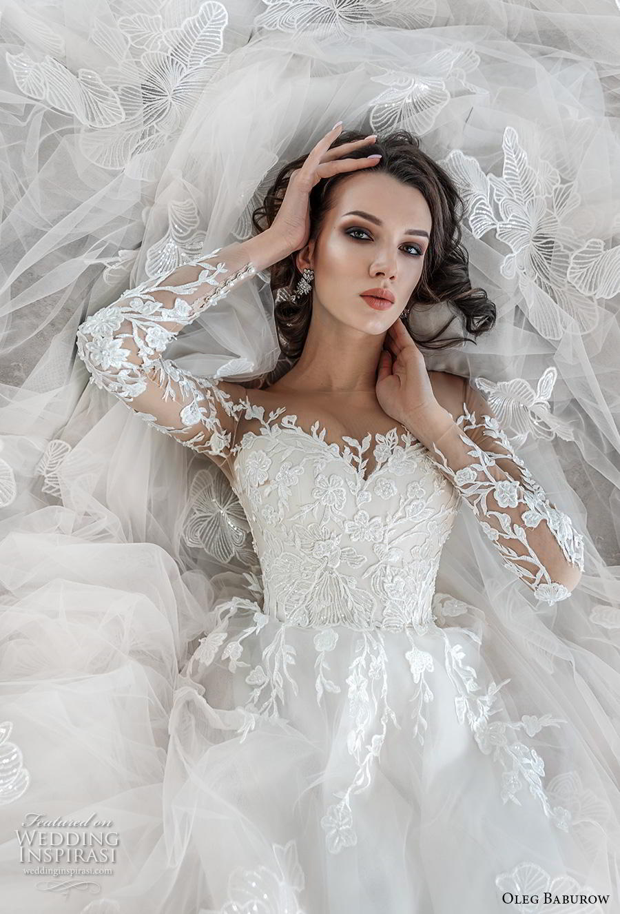oleg baburow 2019 bridal long sleeves illusion bateau sweetheart neckline heavily embellished bodice princess a  line wedding dress chapel train (1) zv