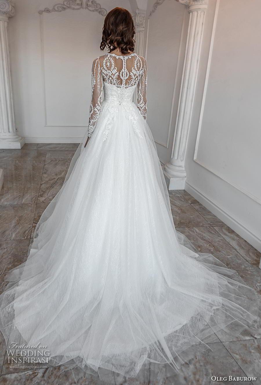 oleg baburow 2019 bridal long sleeves illusion jewel sweetheart neckline heavily embellished bodice romantic a  line wedding dress sheer lace back chapel train (8) bv
