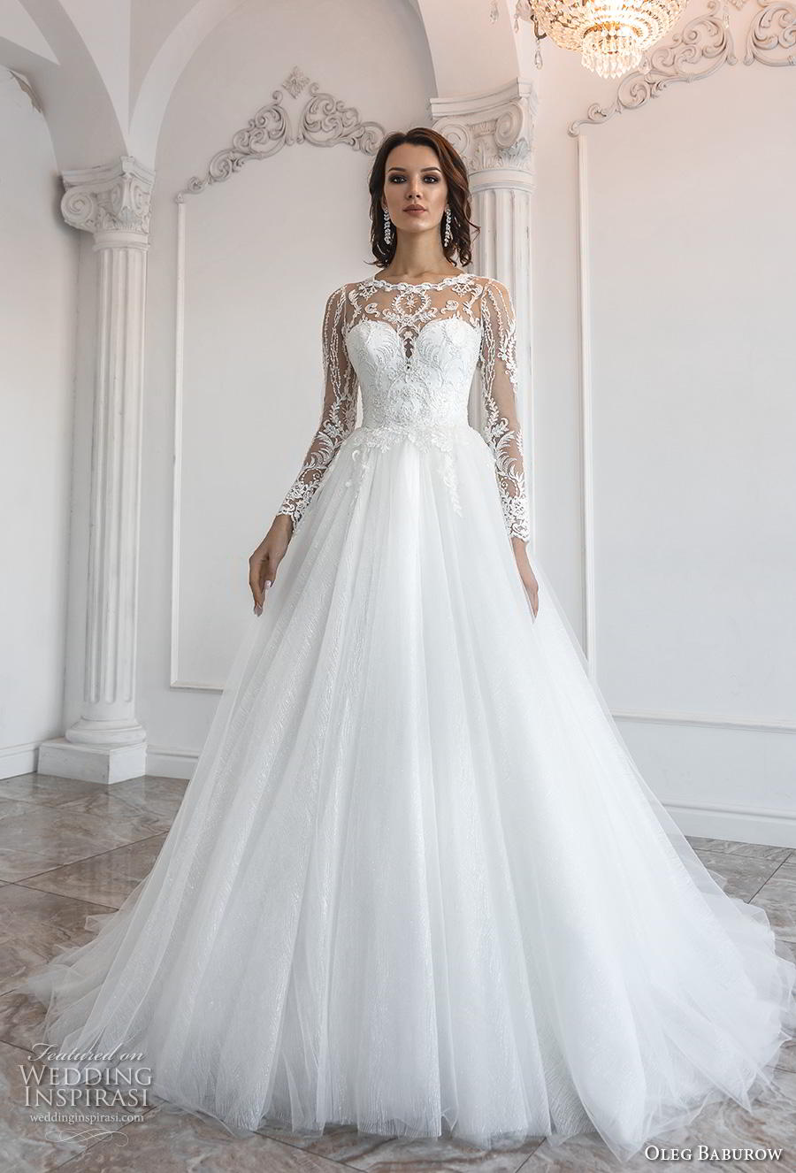 oleg baburow 2019 bridal long sleeves illusion jewel sweetheart neckline heavily embellished bodice romantic a  line wedding dress sheer lace back chapel train (8) mv