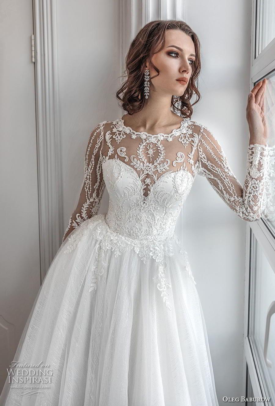 oleg baburow 2019 bridal long sleeves illusion jewel sweetheart neckline heavily embellished bodice romantic a  line wedding dress sheer lace back chapel train (8) zv