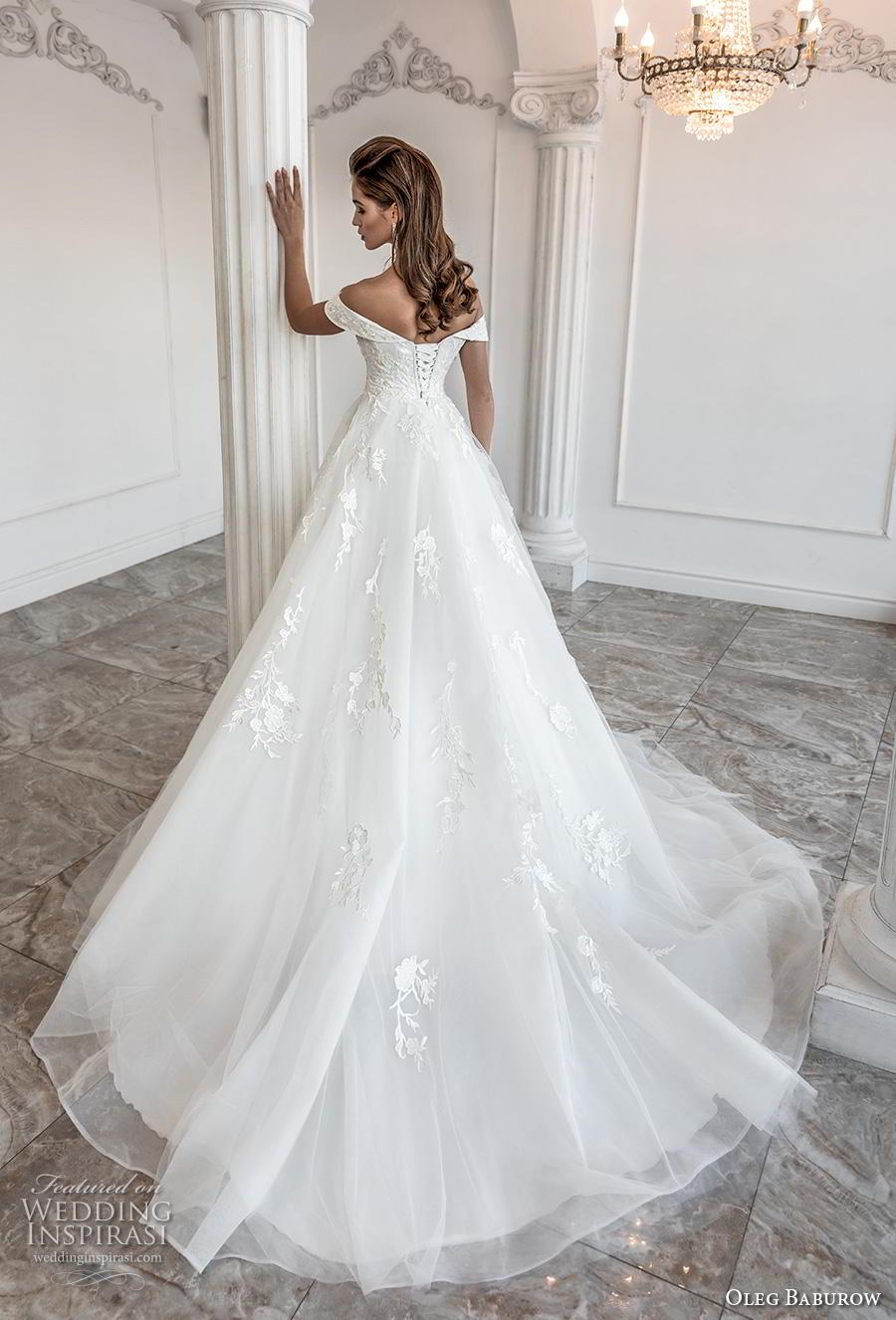 oleg baburow 2019 bridal off the shoulder sweetheart neckline heavily embellished bodice romantic princess a  line wedding dress mid back chapel train (11) bv