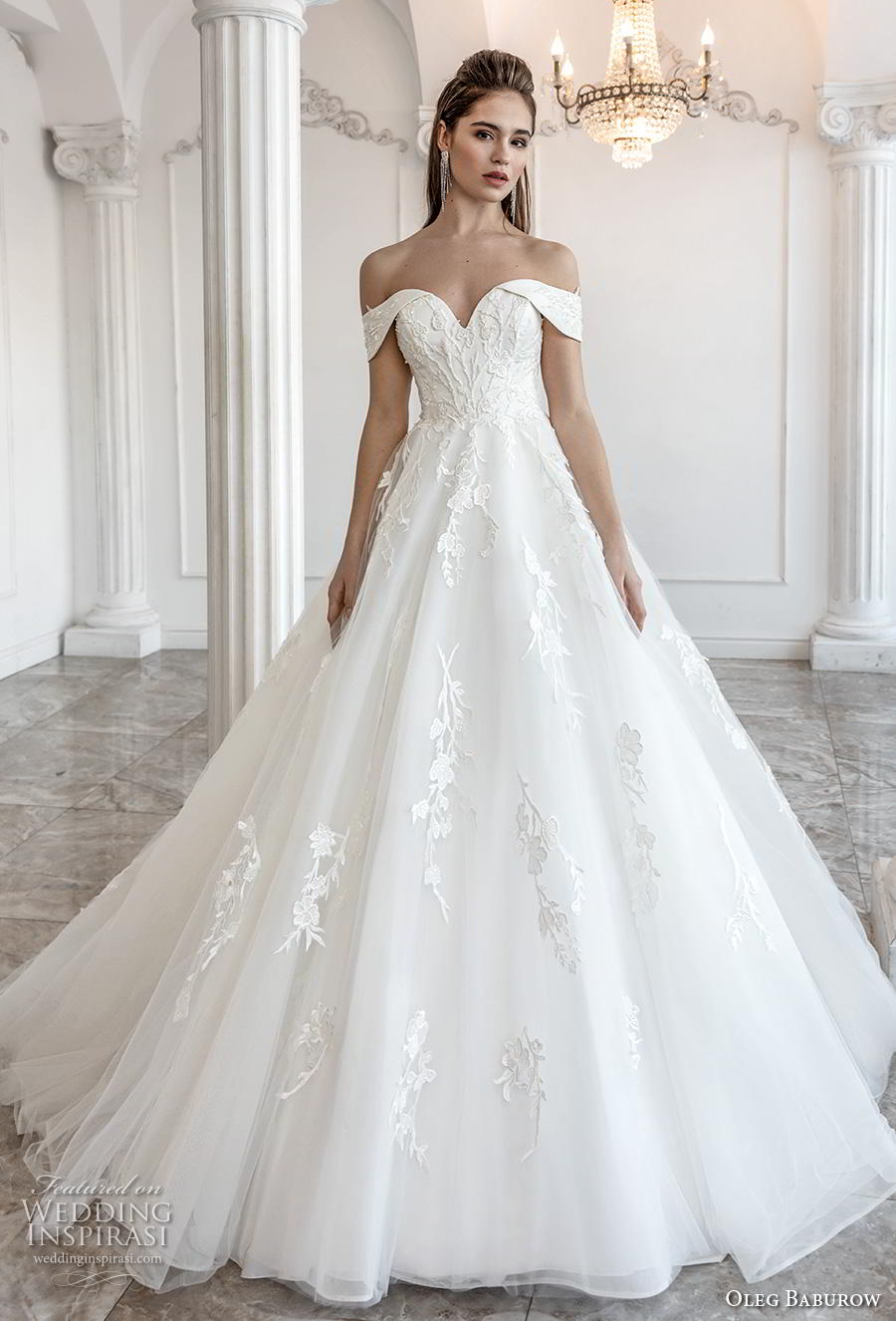 oleg baburow 2019 bridal off the shoulder sweetheart neckline heavily embellished bodice romantic princess a  line wedding dress mid back chapel train (11) mv