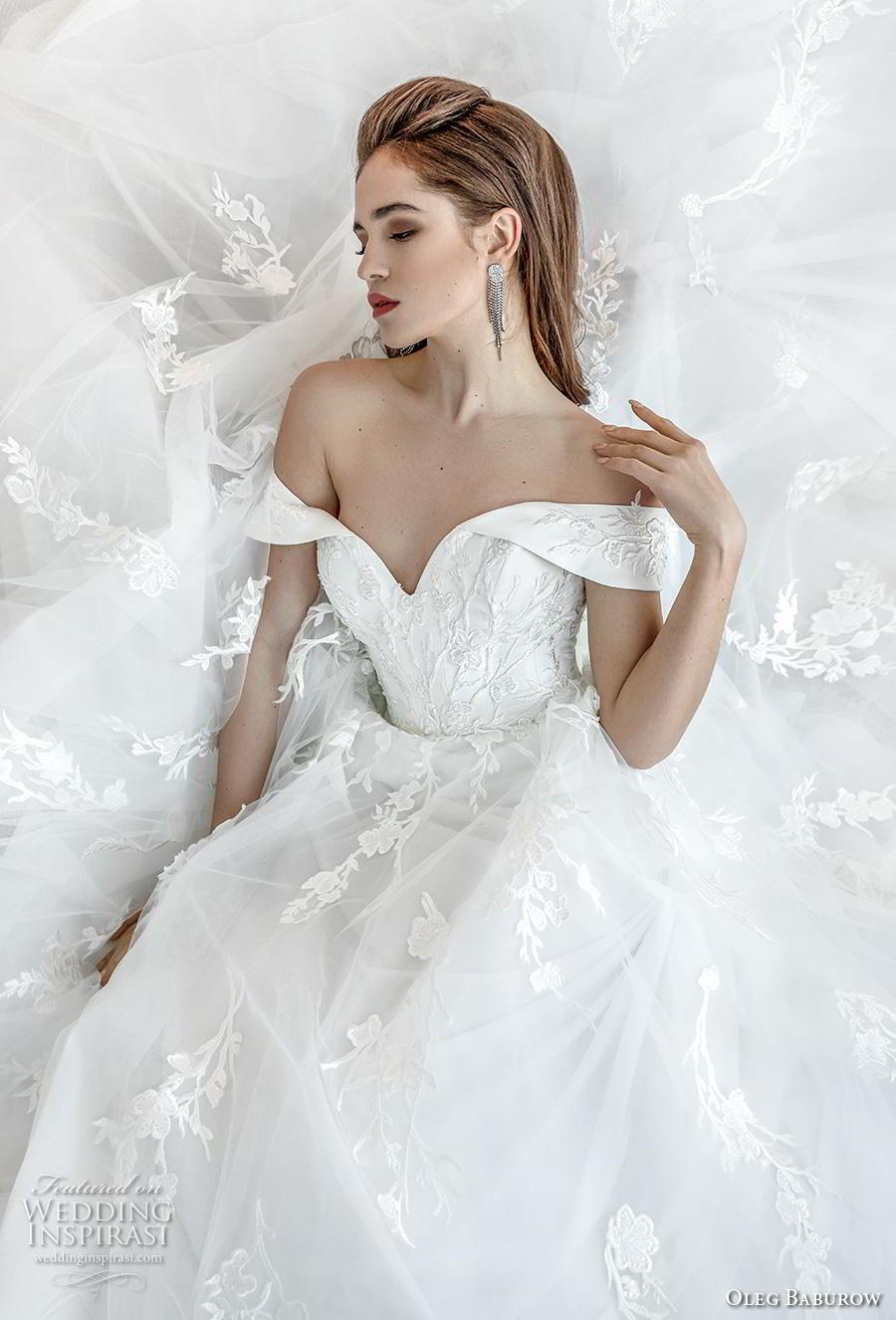 oleg baburow 2019 bridal off the shoulder sweetheart neckline heavily embellished bodice romantic princess a  line wedding dress mid back chapel train (11) zv