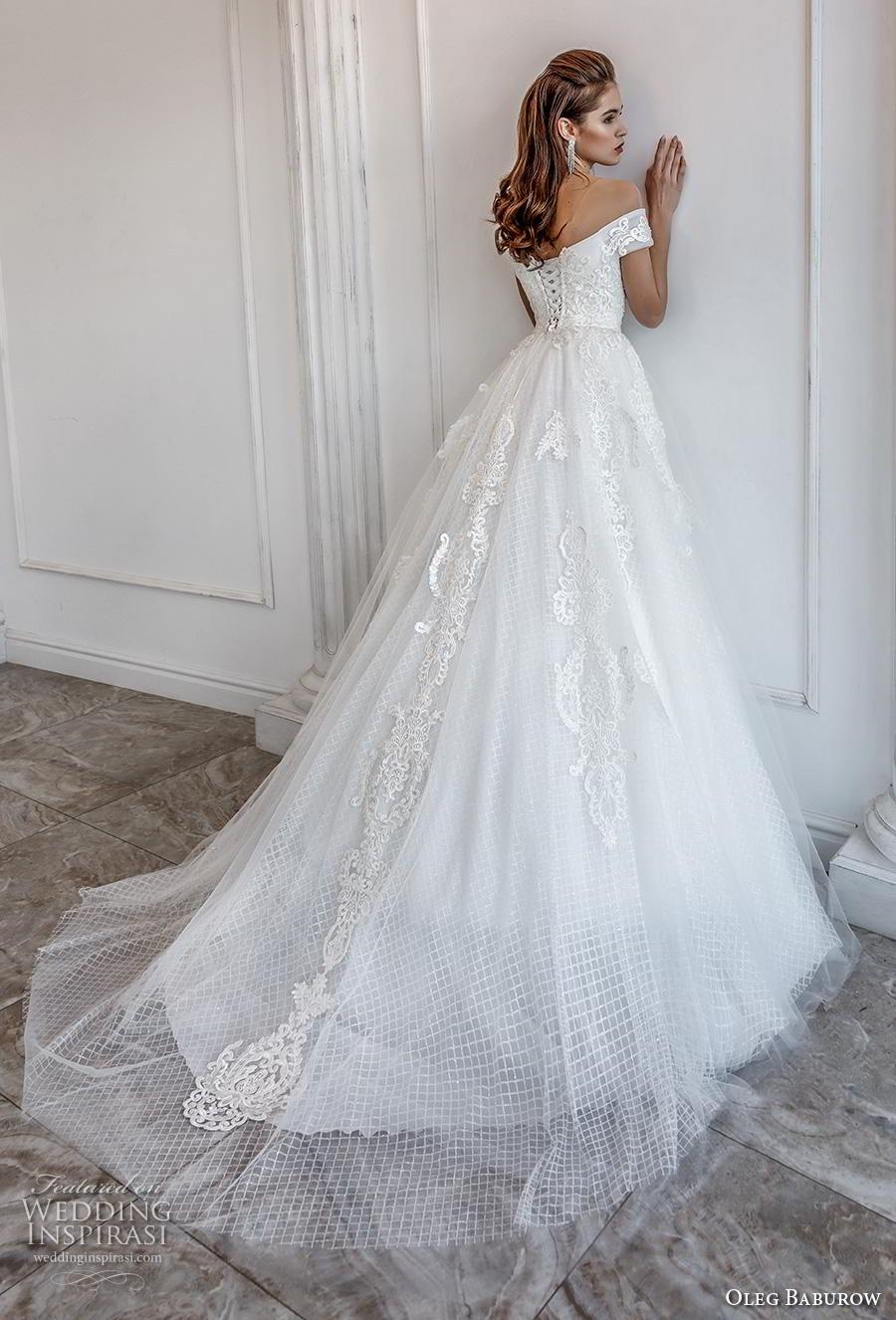 oleg baburow 2019 bridal off the shoulder sweethert neckline heavily embellished bodice romantic princess a  line wedding dress mid back chapel train (2) bv