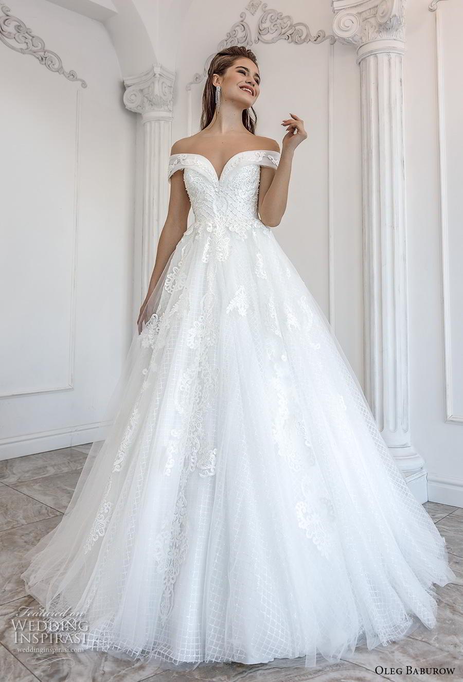 oleg baburow 2019 bridal off the shoulder sweethert neckline heavily embellished bodice romantic princess a  line wedding dress mid back chapel train (2) mv