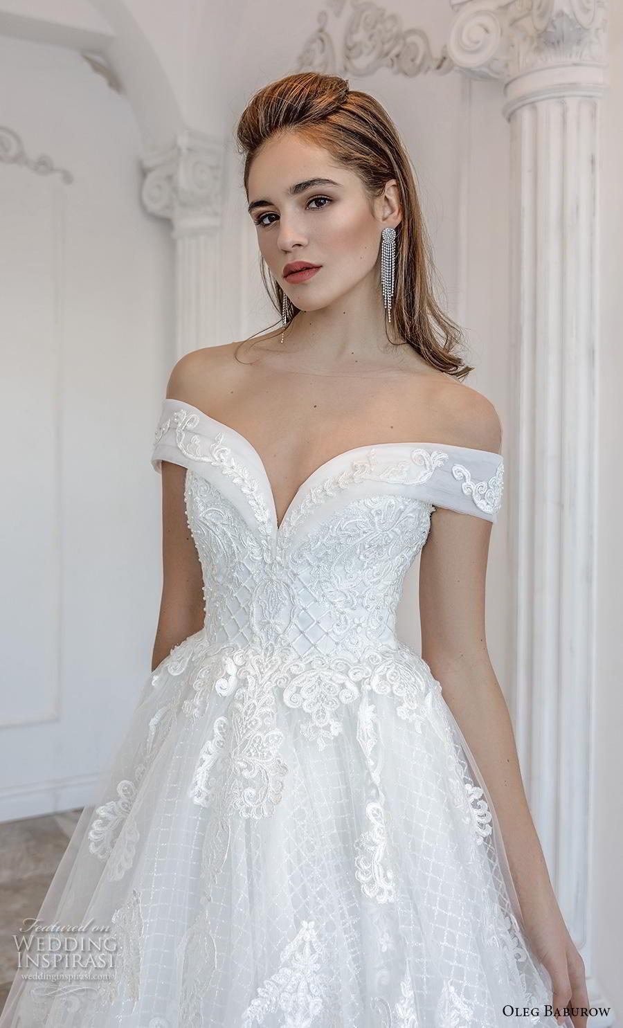 oleg baburow 2019 bridal off the shoulder sweethert neckline heavily embellished bodice romantic princess a  line wedding dress mid back chapel train (2) zv
