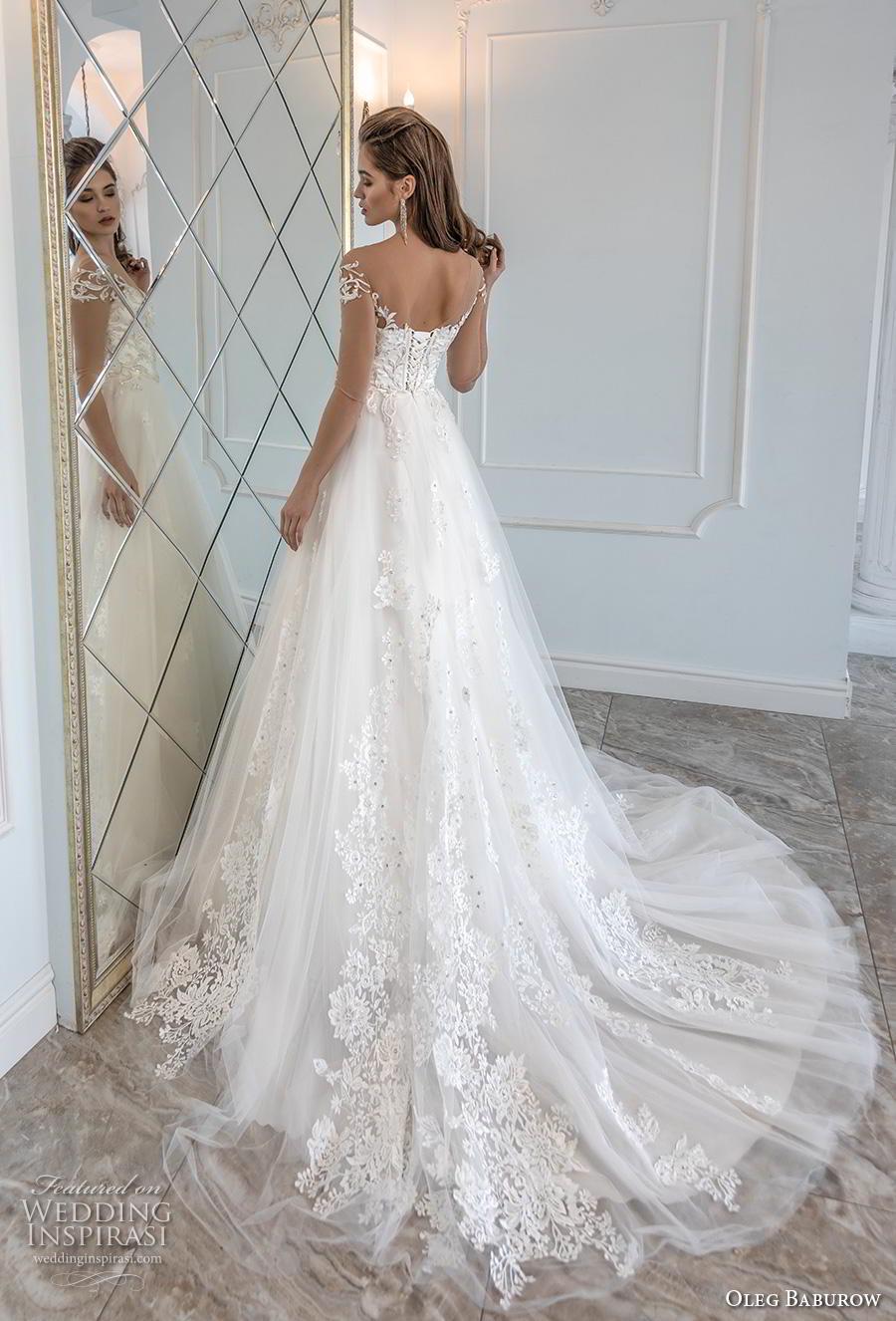 oleg baburow 2019 bridal sheer three quarter off shoulder sleeves sweetheart neckling heavily embellished bodice romantic a  line wedding dress chapel train (3) bv