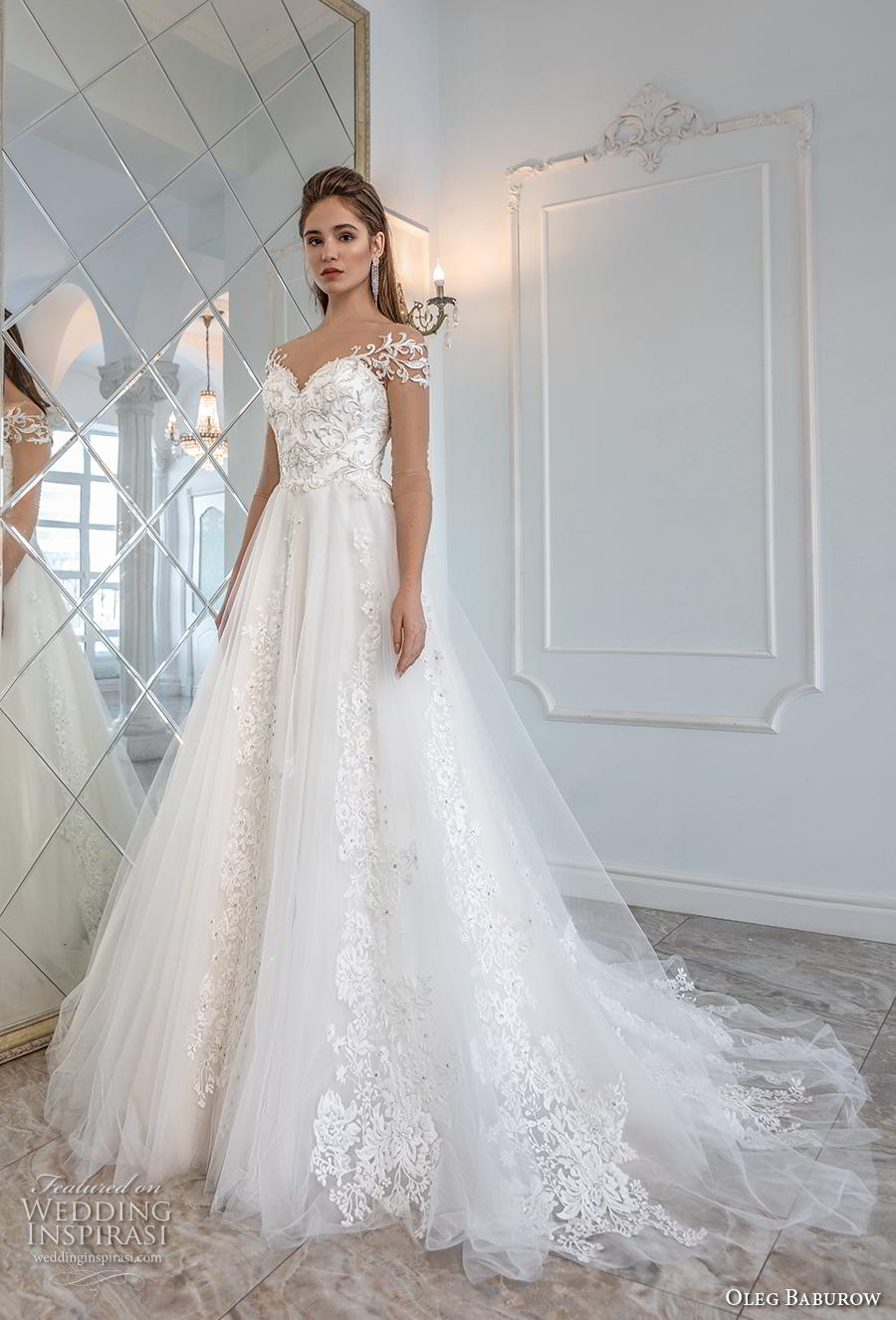 oleg baburow 2019 bridal sheer three quarter off shoulder sleeves sweetheart neckling heavily embellished bodice romantic a  line wedding dress chapel train (3) mv