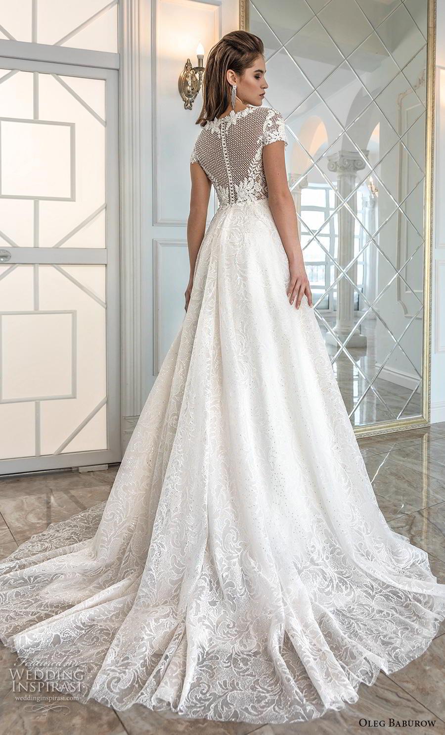 oleg baburow 2019 bridal short sleeves bateau neck heavily embellished bodice romantic soft a  line wedding dress sheer button back chapel train (6) bv