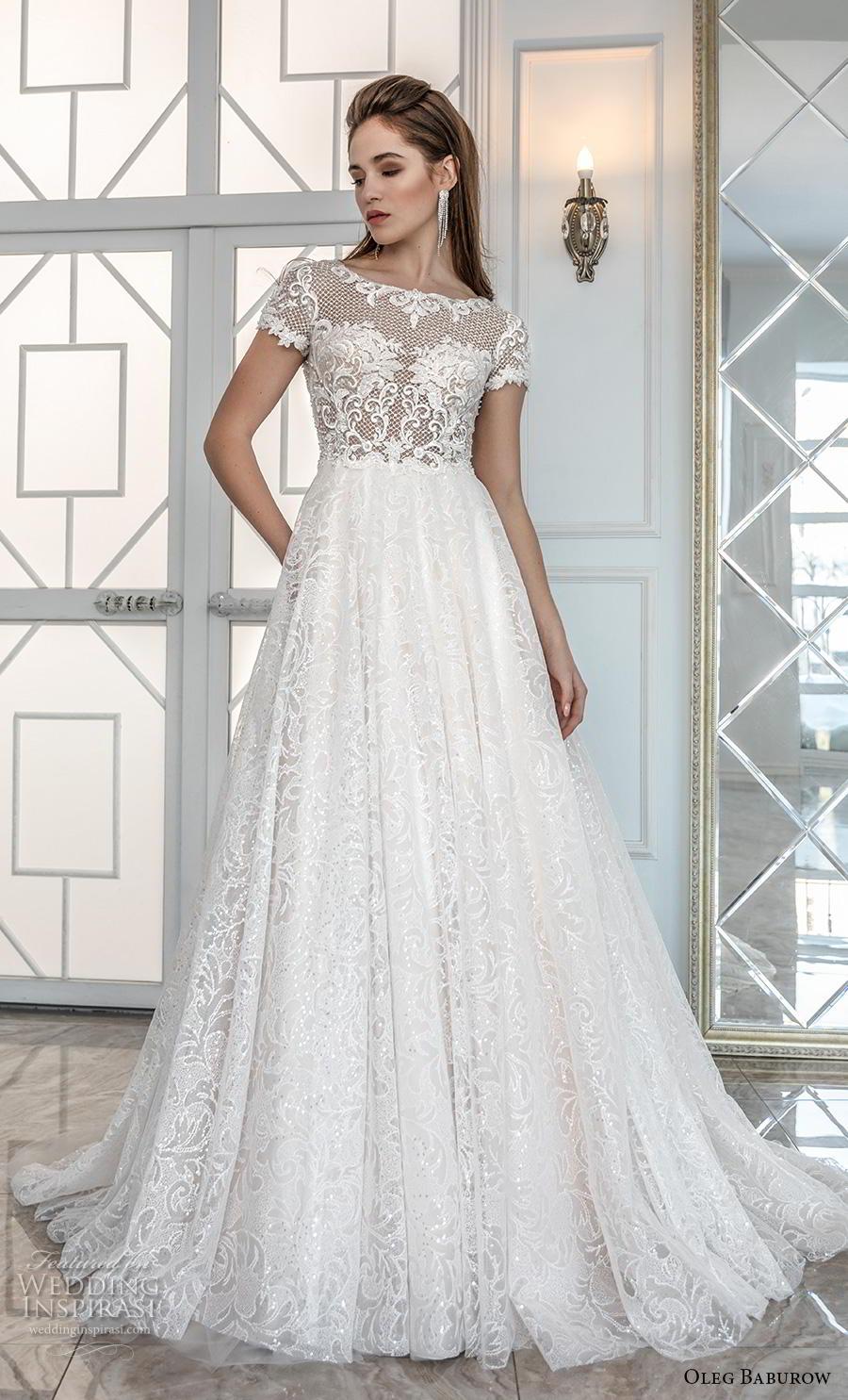 oleg baburow 2019 bridal short sleeves bateau neck heavily embellished bodice romantic soft a  line wedding dress sheer button back chapel train (6) mv