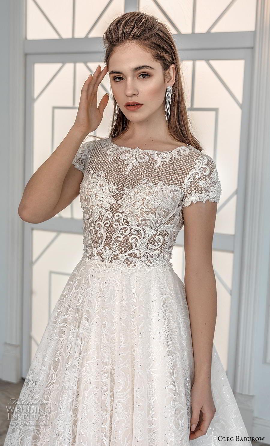 oleg baburow 2019 bridal short sleeves bateau neck heavily embellished bodice romantic soft a  line wedding dress sheer button back chapel train (6) zv