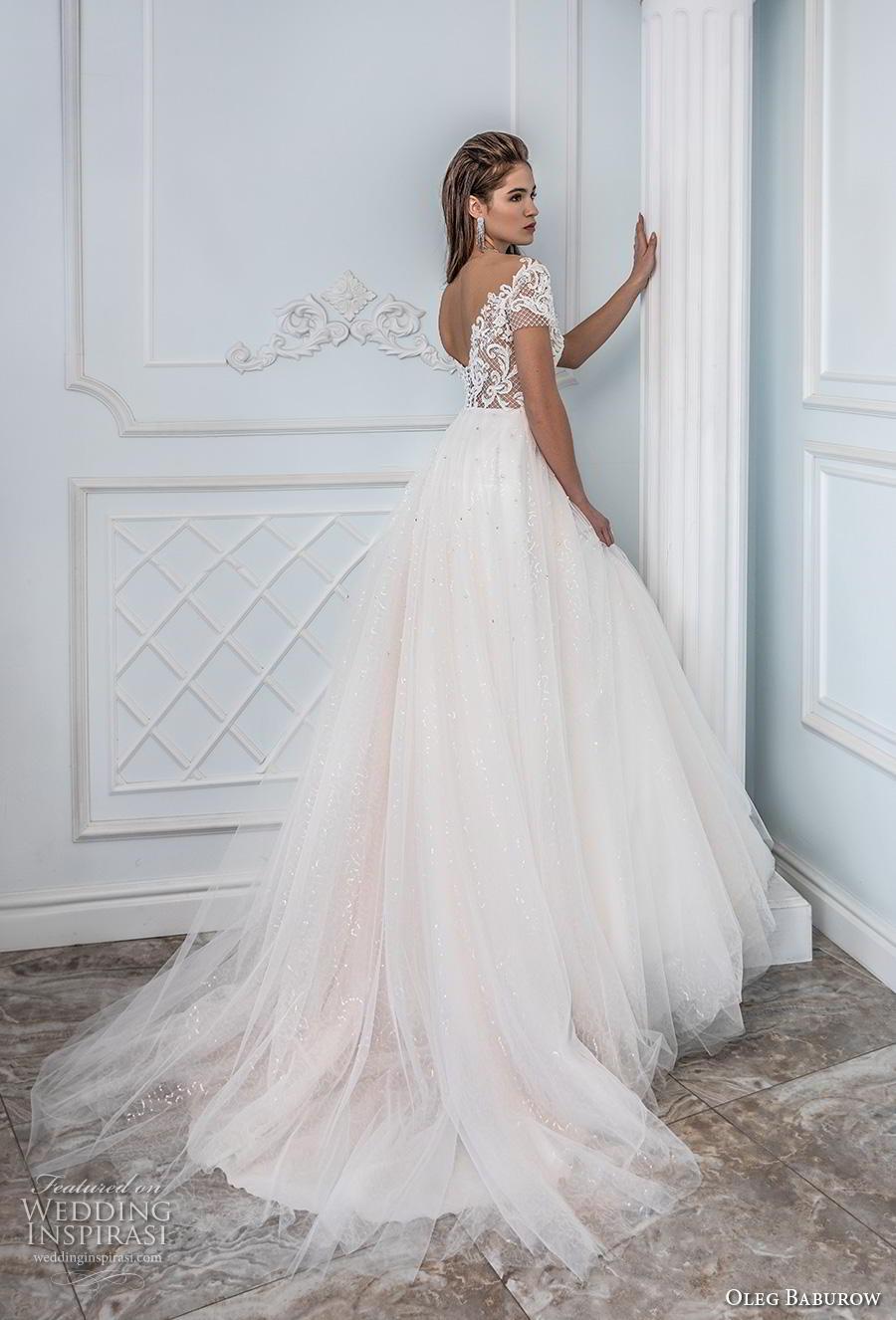 oleg baburow 2019 bridal short sleeves sheer bateau sweetheart neckline heavily embellished bodice tulle skirt romantic a  line wedding dress v back chapel train (9) bv