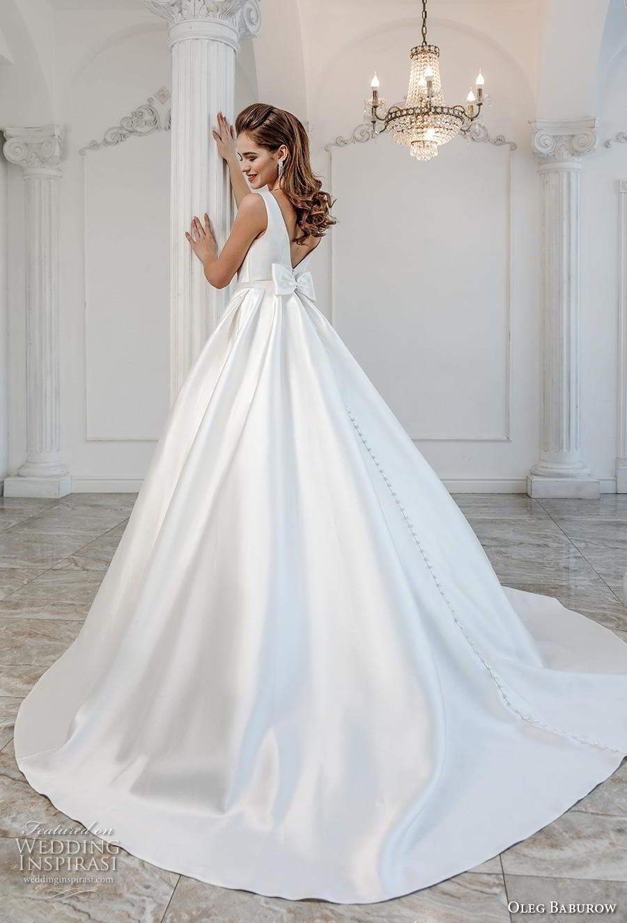oleg baburow 2019 bridal sleeveless bateau neck simple minimalist pleated skirt elegant a  line wedding dress pockets v ribbon back chapel train (5) bv